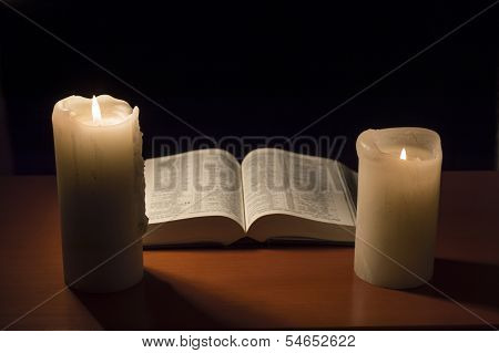 Bible With Candlelight