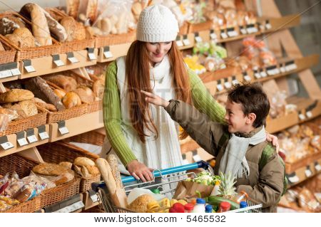 Shopping Series - Long Red Hair Woman With Child