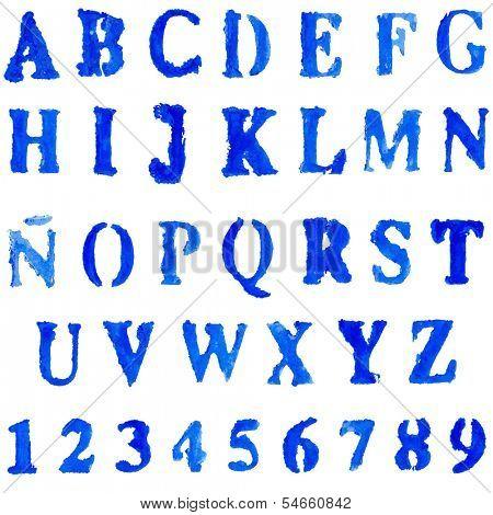 Vector font  in blue colors. Watercolor paint.