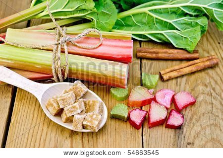 Rhubarb With Sugar And Cinnamon On The Board