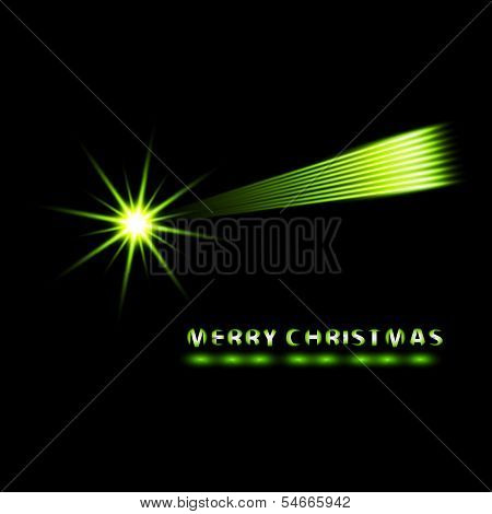 Merry Christmas vector card with comet.