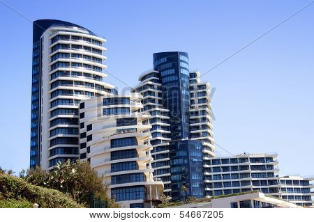 Abstract View Of Blue And White Coastal Residential Complex