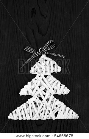White Wooden Rod Christmas Tree On Black Table