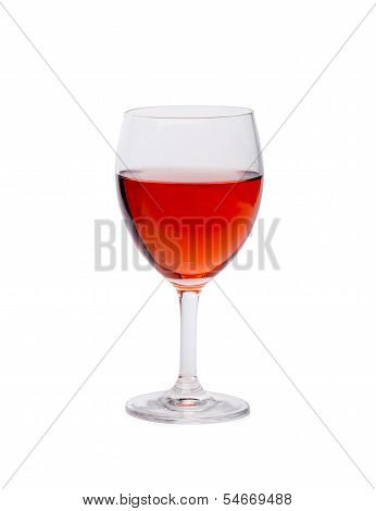 Glass of pink wine.