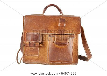 Old Brown Shoulder Bag, Isolated
