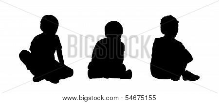 Little Boys Seated Silhouettes Set 2