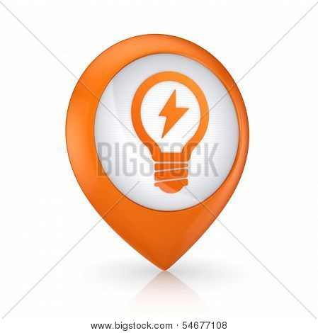 GPS icon with symbol of bulb.