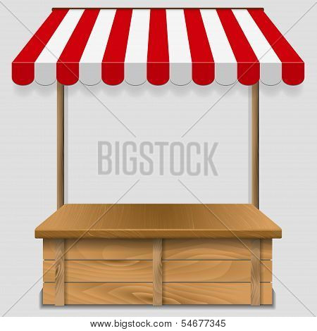 store window  with striped awning