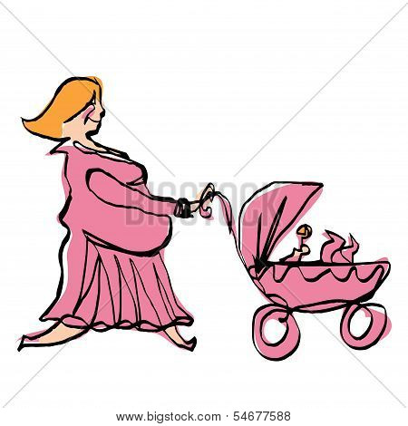 Happy Pregnant Mother In Pink Dress Pushing Baby Girl Stroller