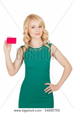 The Beautiful Blonde In A Green Dress Holds A Card