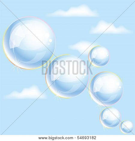 Vector Soap Bubbles In The Sky