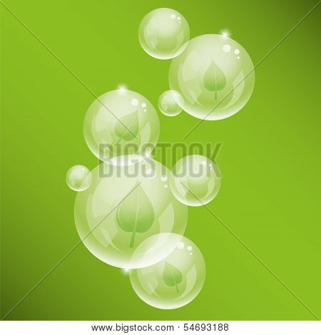 Vector  Bubbles And Green Leaves