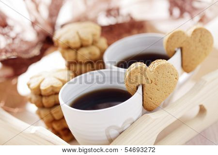 coffee for two with cookie - coffee time