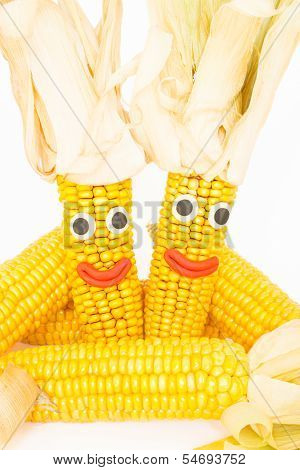 Corncobs with eyes and mouth