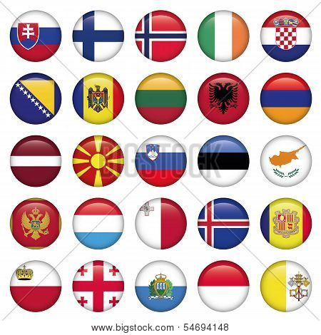 European Buttons Round Flags set of 25 circle Europe icon