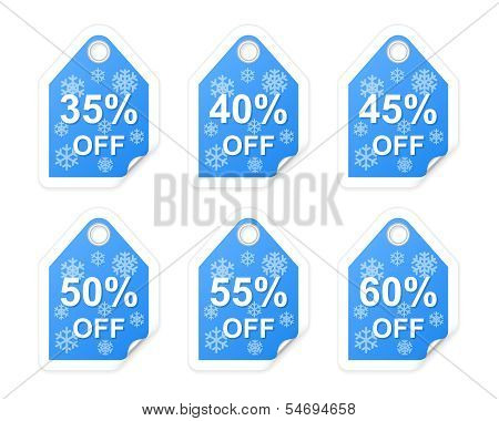 Winter Sale Tags. Part Two. Vector Illustration