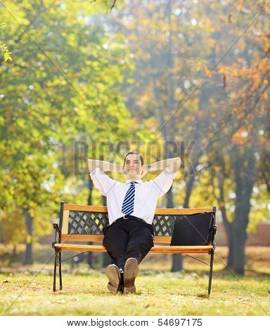 Relaxed young businessman sitting on a wooden bench in a park, shot with tilt and shift