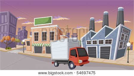 Factory in the city with small truck parked on the street