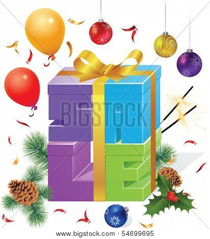 Set of colorful gift boxes with bows and ribbons and set of Christmas decoration and items. Vector