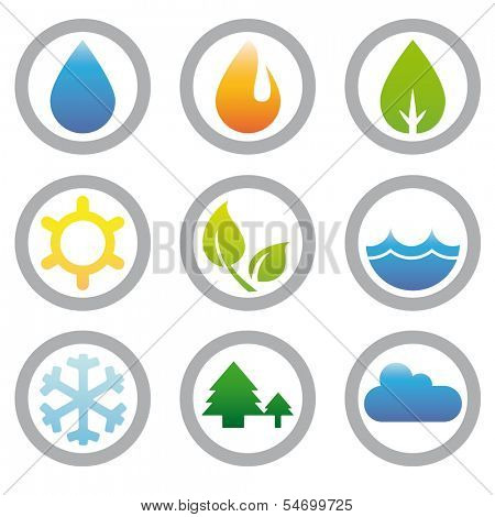 Collection of nine icons related to nature, weather, energy and environment