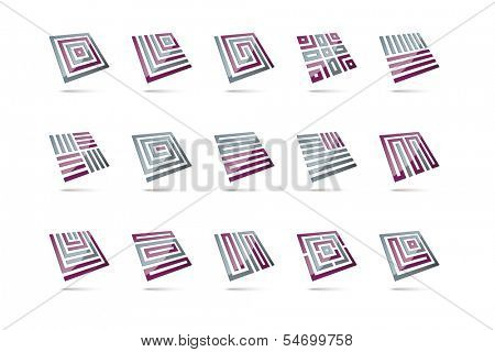 15 abstract 3d design elements, glossy square shapes levitating, second set, grey and purple