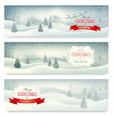stock photo of moon silhouette  - Three christmas landscape banners - JPG