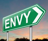 picture of envy  - Illustration depicting a sign with an envy concept - JPG