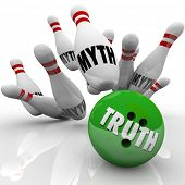 stock photo of striking  - Truth vs Myths Bowling Ball Striking Pins - JPG