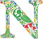 picture of letter n  - Colorful floral initial capital letter N  - JPG