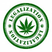 image of marijuana leaf  - Stamp of Marijuana - JPG