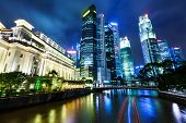 stock photo of singapore night  - Singapore at night - JPG