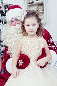 picture of saint-nicolas  - girl in an elegant dress and Saint Nicolas - JPG