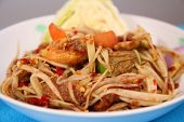 foto of green papaya salad  - Som Tam is spicy green papaya salad Thai food