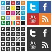 stock photo of colore  - Social network flat mono color icons - JPG