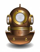 stock photo of oceanography  - Vector illustration of old diver helmet on white background - JPG