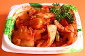 stock photo of kimchi  - Kimchi preserve is Thai style close up - JPG