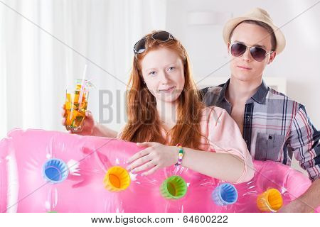 Couple With Air Mattress