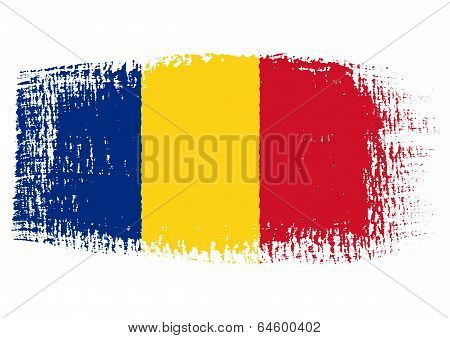 Brushstroke Flag Romania