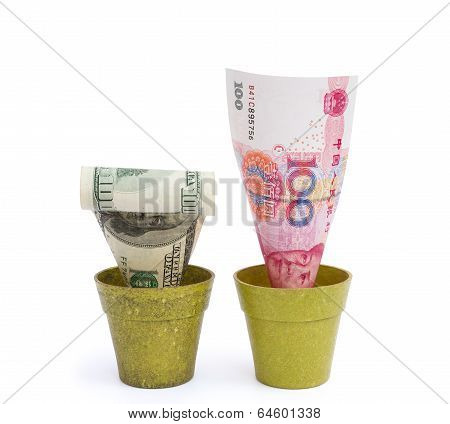 Blooming Rmb And Fade Usd With Clipping Path
