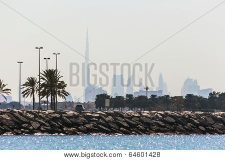 Water Landscape With  Views Of Dubai Cityline