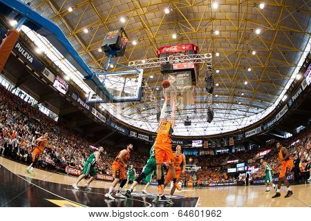 VALENCIA - MAY, 1: Aguilar #34 grabs a rebound during a Eurocup Finals match between Valencia Basket Club and Unics Kazan at the Fonteta Stadium on May 1, 2014 in Valencia, Spain