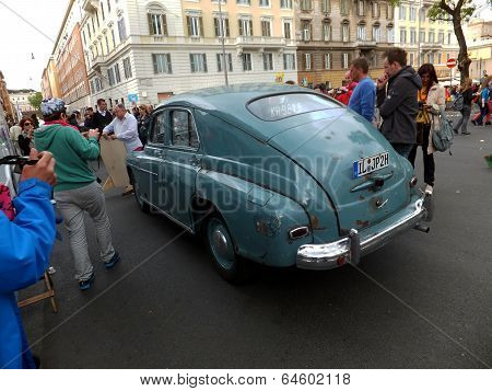 Rome, Vatican - April 27, 2014: Over 60 Letnii Car Fso Warszawa M-20, Which Was Owned By Cardinal Ka