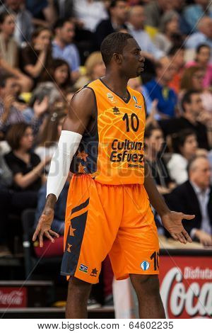 VALENCIA - MAY, 1: Romain sato during a Eurocup Finals match between Valencia Basket Club and Unics Kazan at the Fonteta Stadium on May 1, 2014 in Valencia, Spain