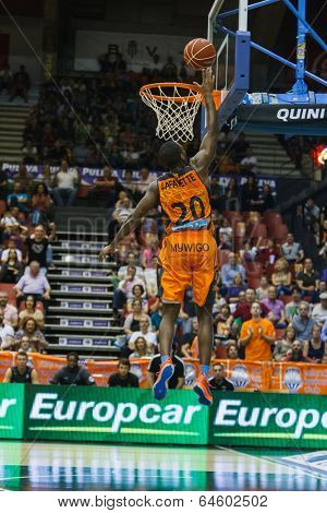 VALENCIA - MAY, 3: Lay-up of Lafayette during a Spanish league match between Valencia Basket Club and Bilbao at the Fonteta Stadium on May 3, 2014 in Valencia, Spain