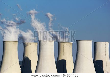 Six Cooling Towers Of Nuclear Power Plant