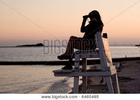 Lifeguard With Binoculars
