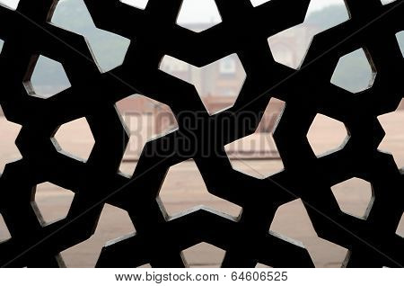 Traditional Islamic Ornament On Medieval latticed Window,India