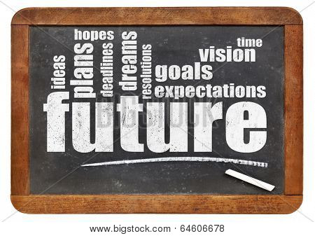 future, dreams, goals, and hopes word cloud on a vintage blackboard, isolated on white