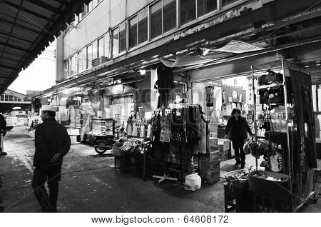 Tokyo, Japan- Nov 26, 2013: Tsukiji Market Is A Large Market For Fish In Central Tokyo.