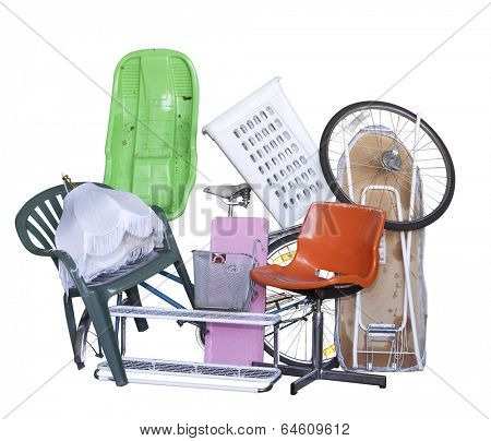 Large group of Recycling objects isolated on white background